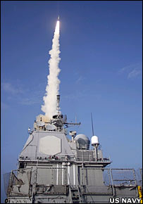 The USS Lake Erie (CG 70) launches a Standard Missile-3 at a defunct National Reconnaissance Office satellite  (US Navy)