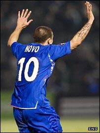 Rangers goal hero Nacho Novo celebrates