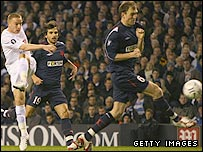 Tottenham's Jamie O'Hara scores to put his side ahead in the Uefa Cup against Slavia Prague