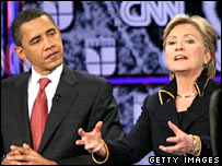Barack Obama (left) and Hillary Clinton during debate in Austin, 21-02-08