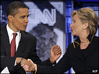 Barack Obama and Hillary Clinton, 21 February 2008