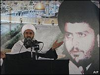 Shia cleric Sheik Jassim al-Mutaari at Friday prayers in Kerbala