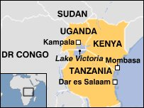 Map showing Uganda and neighbouring countries