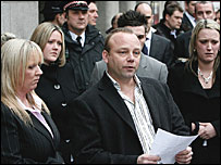 Miss Bowman's family outside court following the verdict