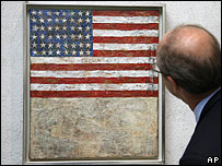 Jasper Johns: Flag Above White With Collage