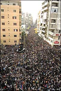 Hezbollah supporters in southern Beirut