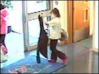 CCTV image of Shannon Matthews leaving Dewsbury Sports Centre
