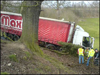 Lorry stuck in lane