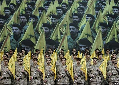 Hezbollah militants at Beirut rally remember Hezbollah commander Imad Mughniyeh and other leaders
