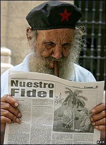 Newspaper reader in Havana