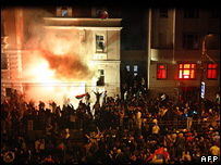 The US embassy in Belgrade is set alight