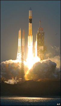 H-2A rocket lifts off from its launch pad on the island of Tanegashima on Saturday 23 February, 2008