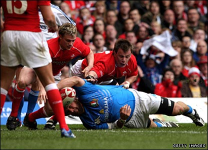 Italy prop Martin Castrogiovanni scores against Wales in Cardiff