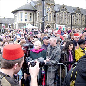 Part of the crowd in Caerphilly town centre