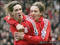 Fernando Torres (left) celebrates with Lucas Leiva during the 3-2 win over Middlesbrough