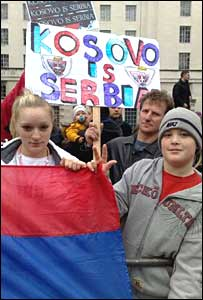 Serbian protesters outside Downing Street