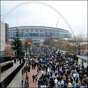 Fans make their way to the stadium from Wembley Park tube station