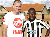 Alan Shearer visits a Sport Relief project in Uganda 