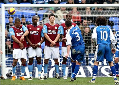 Shorey bends his free-kick around Villa's wall