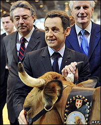 President Sarkozy at the Paris agriculture fair with, right, Agriculture Minister, Michel Barnier