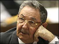 Raul Castro sitting in the National Assembly