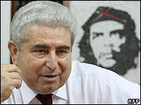 Demetris Christofias interviewed by reporters at party headquarters in 2007