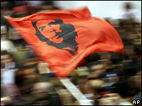 Christofias supporters wave a Che Guevara flag during a victory rally at Eleftheria Stadium in Makedonitissa, Nicosia, 24 February 2008