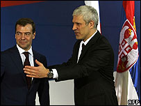 Serb President Boris Tadic (R) and Russian Deputy PM Dmitry Medvedev meet in Belgrade