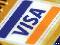 Visa symbol on a credit card