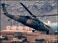 A Turkish army Black Hawk helicopter near Iraqi border 24-2-08