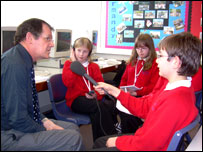 Students from John Ferneley School interview their teacher about internet safety