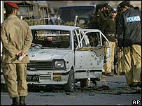 Police by the site of Monday's Rawalpindi attack