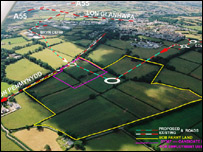 Plan showing Llangefni development area