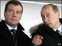 Dmitry Medvedev (left) with Vladimir Putin