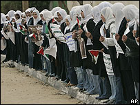 Female students form human chain in Gaza