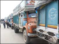 Lorries queue for fuel in southern Nepal