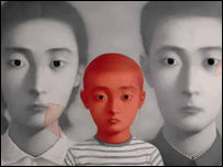 Chinese artist Zhang Xiaogang's painting Big Family No. 1
