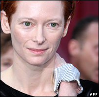 Tilda Swinton wearing her bracelet at the Oscars on Sunday