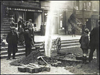 George Foulkes' choice of a burst water pipe in the Grassmarket.