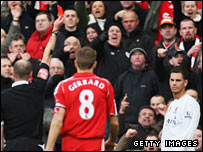 Jeremie Aliadiere was sent off late in Boro's defeat by Liverpool