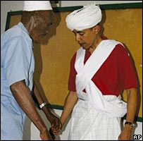 Obama dressed as an elder in Kenya
