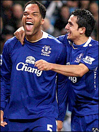 Joleon Lescott celebrates after scoring Everton's second goal