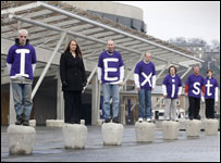 Autism campaigners outside the Scottish Parliament