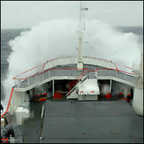 Wave over ship. Image: BBC
