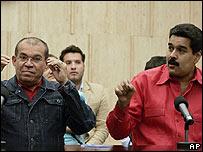 Ramón Chacín y Nicolás Maduro el 25 de febrero