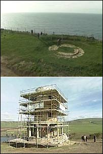 The spot where Clavell Tower used to stand and the tower in its new place