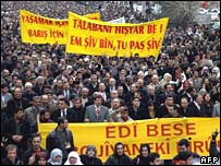 A demonstration against Turkey's offensive in the city of Diyarbakir in Turkey's predominantly Kurdish south-east