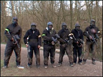 Hamid and friends paintballing