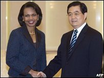 US Secretary of State and Chinese President Hu Jintao at the Great Hall of the People in Beijing, China (26/02/2008)