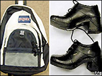 "A black JanSport bag and black ""Pod"" platform shoes similar to those used by Milly Dowler"
